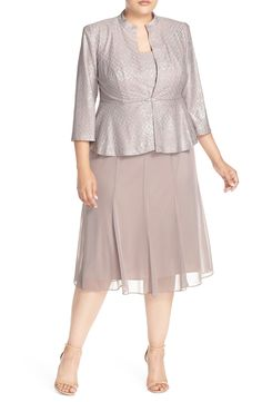 Alex Evenings Mock Two-Piece Tea-Length Dress with Jacket (Plus Size) available at #Nordstrom