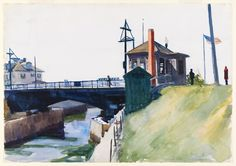 """""""Blynman Bridge,"""" Edward Hopper, 1923-24, watercolor and graphite pencil on paper, 13 15/16 × 19 15/16"""", Whitney Museum of American Art."""
