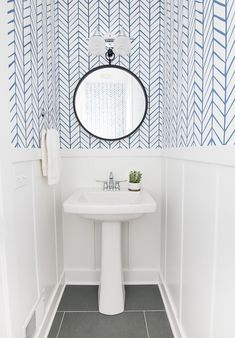 Lake house powder room serena and lily wallpaper