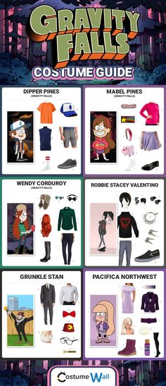 Check out these costume guides and dress like your favorite Gravity Falls characters for Halloween, including Dipper Pines, Mabel Pines, Wendy, Robbie, Grunkle Stan and more. #ad