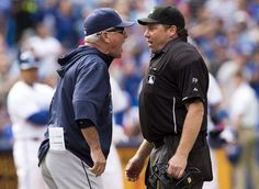 Tampa Bay Rays manager Joe Maddon yells at home plate umpire Paul Schrieber during the seventh inning of the Rays' baseball game against the...