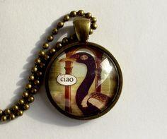 Ciao. Italian talking bird pendant. Hello pendant by EvasJewellery, $11.99