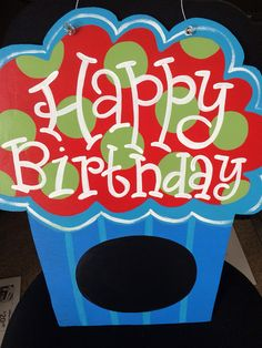 Happy Birthday Cupcake Door Hanger by TwirlingBrushes on Etsy