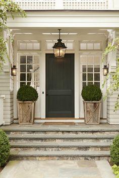 70 Best Modern Farmhouse Front Door Entrance Design Ideas 7 – Home Design Farmhouse Front Porches, House, Porch Steps, House Exterior, Exterior Design, New Homes, Front Door, Porch Planters, Front Door Entrance