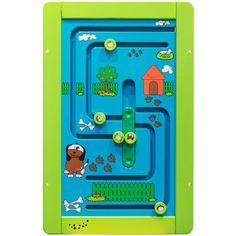 """Spelmodule Speelwand Family Bridge.     Met deze mooie Spelmodule Speelwand """" Family Bridge""""  wordt de hand-oog coördinatie getraind door dat elk familie lid naar zijn eigen plekje in de tuin gebracht moet worden. Deze Spelmodule is van hoogwaardige kwaliteit en bevorderd de creativiteit, inzicht en fantasie van kinderen.    Deze speelwand is Ideaal voor in uw wachtruimte, speelhoek, peuterspeelzaal en/of kinderdagverblijf."""