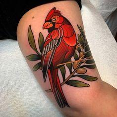 Badass Tattoos, Cute Tattoos, Unique Tattoos, Beautiful Tattoos, Tatoos, Traditional Tattoo Cardinal, Neo Traditional Tattoo, Backpiece Tattoo, Neotraditionelles Tattoo