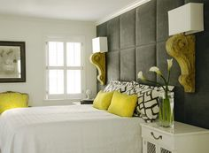 Gorgeous suede panel wall.... Love the grey with pops of yellow! {via Caldwell Flake}
