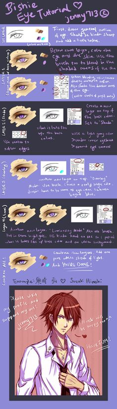 TUTORIAL (Paint Tool SAI): Bishie Anime Male Eye by jenny713.deviantart.com on @deviantART