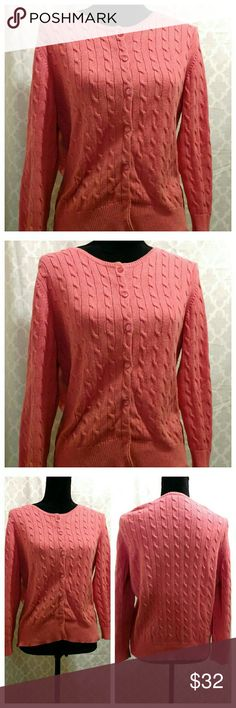 """Coral Cable-Knit Sweater Cardigan ★Beautiful Coral-color cable-knit design sweater cardigan. Loft, quality brand with excellent fabric.  ★Very good condition. Gently worn only a handful of times. Very clean. Clean home and well cared for.  ★Perfect addition to your closet and to add some color to your wardrobe/ style. ★22"""" across the chest (armpit-armpit). And 23"""" in length.   ★★Picture 1: Is the """"Get-the-Look"""" Style Ideas and Cover Photo. (These are ideas from Pinterest.)   All other…"""