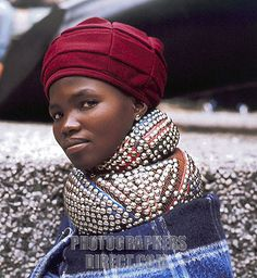 freakin awesome ndebele studded neckwear and hat. #south #african #woman