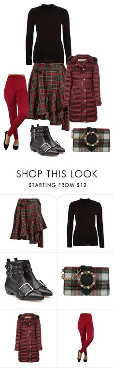 """Red and black plaid skirt"" by sarah-m-smith ❤ liked on Polyvore featuring Junya Watanabe, River Island, RED Valentino, Miu Miu and Burberry"