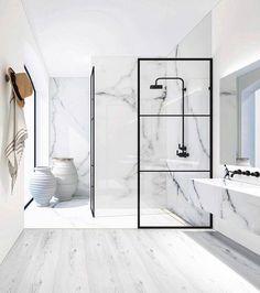 Bathroom bliss. Loving those big windows! via @ashleytstark #scandinavian #interior #homedecor #simplicity #whiteliving