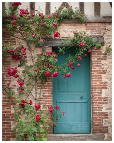 France Photography - French Country Blue Door, Home Decor, Cottage with Roses, Romantic Fine Art Travel Photograph via Etsy - Home Decor Styles French Cottage Garden, French Country Cottage, French Country Decorating, Country Blue, Romantic Cottage, Front Door Entrance, Front Door Colors, Doorway, Old Doors