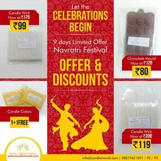 Exciting discount offers this Navratri 2015 Call Us: 08879651091 / 92 / 93  Click here: http://www.candlemould.com/index.php…  Visit Us: www.candlemould.com #Niralindustries #celebrations #Discounts #products #NavratriOffer #SiliconeMoulds #Moulds #BuyNow #Hurry