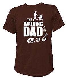 Artdiktat T-Shirt des Hommes - The Walking Dad - Poussette bébés père, Größe M, braun