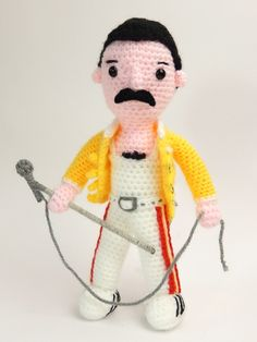 (must join site for pattern) Amigurumi Freddy Mercury - FREE Crochet Pattern / Tutorial Crochet Amigurumi Free Patterns, Crochet Doll Pattern, Crochet Dolls, Crochet Crafts, Crochet Projects, Love Crochet, Easy Crochet, Amigurumi Doll, Crochet Animals