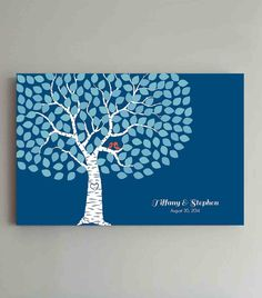 150 Guest Wedding Guest Book Wedding Blue Tree by ThePrintCafe