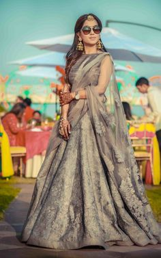 Stunning grey lehenga with all over work and a boat neck blouse for a day function| WedMeGood|#wedmegood #indianweddings #lightlehenga #greylehenga #daylehenga #bridallehenga #uniquecolours