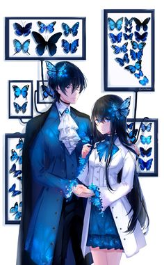 display by lluluchwan anime display by lluluchwan on DeviantArt Anime Couples Drawings, Anime Couples Manga, Chica Anime Manga, Kawaii Anime, Cute Anime Boy, Anime Art Girl, Anime Girls, Anime Cosplay, Anime Butterfly