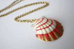 Sea Shell Necklace Pendant Necklace Coral Pink by SeashoreLove, $54.00