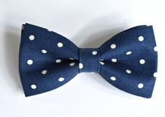 bow tie  Navy Blue Bow Tie and tan Polka Dots for by ClipABowTie