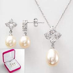 Sterling Silver Freshwater Cultured Pearl and Lab-Created White Sapphire Necklace and Drop Earring Set