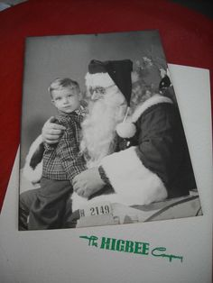 1952 BOY & SANTA CLAUS PHOTO 5 BY 7 USE FOR CHRISTMAS DECORATION OR ORNAMENT