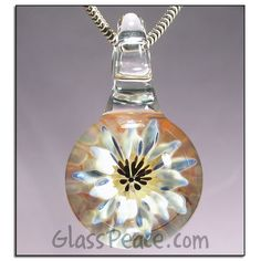 Flower Jewelry Glass Pendant Lampwork Necklace Focal by Glass Peace $35.00