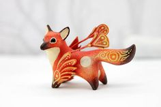2.4 inch in length, velvet clay, acrylic. I can send it in a way as it is now (Without changes), or can draw on the trees as the Moon Wanderers (With tree patterns). It wi... #fox #foxy