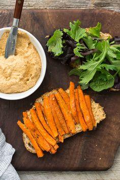 Roasted Carrot Sandwich with Smoked Paprika Sunflower Cream   @naturallyella
