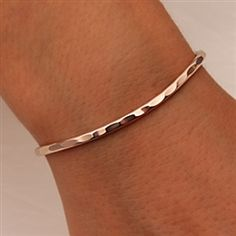 Handcrafted 14k Rose Gold Filled Thin Cuff Bracelet from David Smallcombe – Hammered Cuff Bracelet