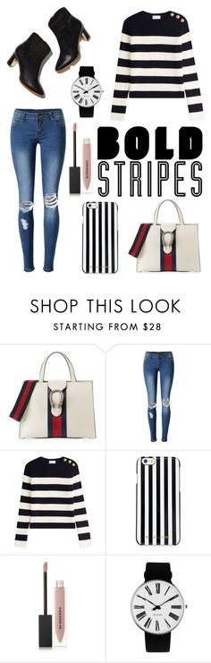 """""""Bold stripes"""" by tigermysig ❤ liked on Polyvore featuring Gucci, WithChic, RED Valentino, MICHAEL Michael Kors, Burberry, Rosendahl, contest, outfit and stripes"""