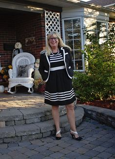 Shoe Dazzle Black and white heels with  J Crew Dress with pockets