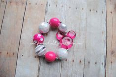 Hot Pink and White Mickey Mouse Inspired Bubblegum Bracelet Chunky Children's Bracelet Photo Prop Toddler Necklace READY TO SHIP