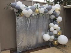 For this special baby shower, we teamed up with Shelby from LoveHerMadly to add greenery to our balloon garland! - Decoration For Home Décoration Baby Shower, Baby Shower Garland, Baby Shower Backdrop, Baby Shower Photos, Bridal Shower, Baby Shower Photo Booth, Baloon Garland, Balloon Backdrop, Balloon Columns