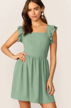 To find out about the Tie Back Ruffle Strap Fit & Flare Dress at SHEIN, part of our latest Dresses ready to shop online today! Bustier Dress, Mesh Dress, Tie Dress, Dress Backs, Shirred Dress, Ruffle Dress, Fit Flare Dress, Fit And Flare, Metallic Dress