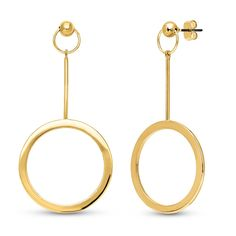 These open circle ball bead dangle earrings combine chic elegance and minimalist design to make a bold statement. Made of gold flashed base metal. Earrings measure 2.4 inch in length, 1.2 inch in width. Posts with butterfly backs.