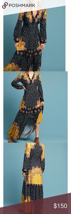 Farm Rio Floral Blocked Maxi Dress NWT.  See last pic for details. Anthropologie Dresses Maxi