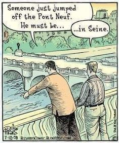 Combining my two favourite things in the world: language jokes 🤓✏️ and France 🇫🇷 Credit: puns punny grammar copyediting copyeditor proofreading language elizebermanediting Funny Puns, Funny Cartoons, Funny Comics, Hilarious, Funny Stuff, Stupid Stuff, Funny Humor, Random Stuff, Comics