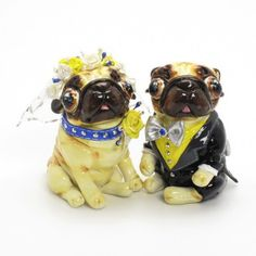 Pug Cake Toppers for Dog Lover Gift Collectible Wedding I embellished these Bridal Fawn Pug with yellow and white roses and white veil embellish with crystal and glitter. Fawn Groom Pug wearing black and dark grey tuxedo, yellow shirt and silver bow tie. I also add glitter that I using my own technique for sparkling. All the embellishments are hand sculpt with beautiful detail. very incredible details... You will amaze with its fine details  www.muddymood.com