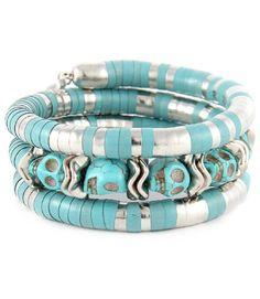 Western Cowgirl Rock Turquoise Skull Layered Wristwrap Stretch Bracelet
