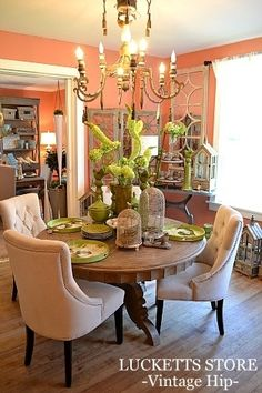 The Old Lucketts Store, Leesburg, VA Lucketts Road) 20176 Pink Dining Rooms, Green Dining Room, Dining Room Walls, Dining Room Design, Living Room Decor, Dining Room Inspiration, Apartment Living, House Design, Garden Design