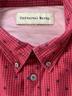 Universal Works Red spotted and check Shirt size Medium P2P 21 inch #universalworks #universalworksshirts #universalworksclothing #universalworksclothes #reclaimedclothing #qualityshirts #mensfashion #slowfashion #clothing #clothingbrands   Visit our ebay page and see all our reclaimed men's clothes.