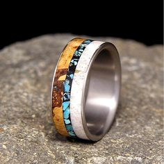 Titanium Wood Wedding Band or Ring Black Cherry Burl, Deer Antler, and Turquoise Inlays on Etsy, $175.00