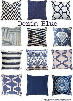 Denim Blue Pillows | Home Decor | Bright Bold and Beautiful