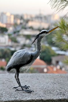 The Grey heron is handmade by the needle felt soft sculpture technique. I created this little unique wool sculpture out of natural, organic