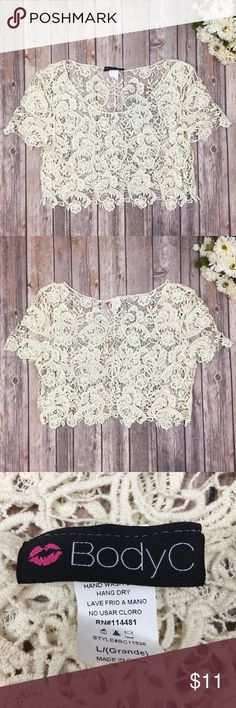 {BodyC} Boho Crochet Crop Top Top is excellent condition!  Measurements: Length - 15 | Width - 18.8  🌟 Please note:  I don't do trades, lowballs, or model clothing. BodyC Tops Crop Tops