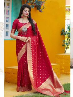 Red Colored Beautiful Weaving Pure Silk Saree | ₹3,550.00 | Visit Now : www.grabandpack.com | Contact us/ Whats app us on +919898133588, +917990485004 | Ship to All major Counties Like USA , Maurtius , Malaysia , Saudi Arabia , West Indies , Australia , Bangladesh , South Africa ,U.K , Canada ,Singapore , UAE etc. To Buy this Beautiful saree At Best Price | Design : RC004