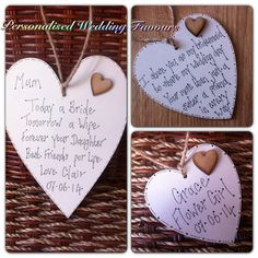 Personalised Wooden Heart Plaques Wedding Favours Bridesmaid Gift Flowergirl Gift Mother of the Bride Shabby Chic Style, ANY TEXT
