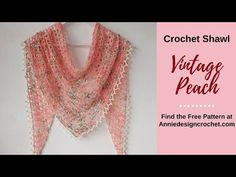 One Skein Crochet Triangle Shawl Vintage Peach - YouTube Crochet Lace Scarf, One Skein Crochet, Crochet Scarves, Easy Crochet, Crochet Things, Crochet Triangle, Triangle Scarf, Knitting Patterns Free, Crochet Patterns
